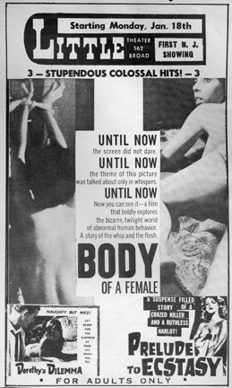 Press ad for 'Body of a Female'
