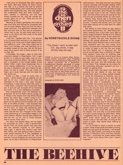 Honeysuckle Divine, Cheri magazine