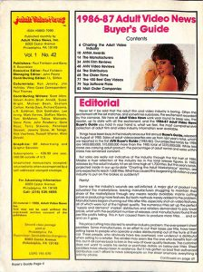 Adult Video News Buyers Guide 1986-87